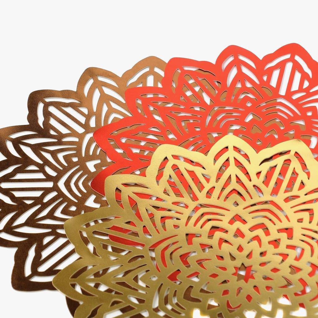Individual Flor Vermelho D: 38cm