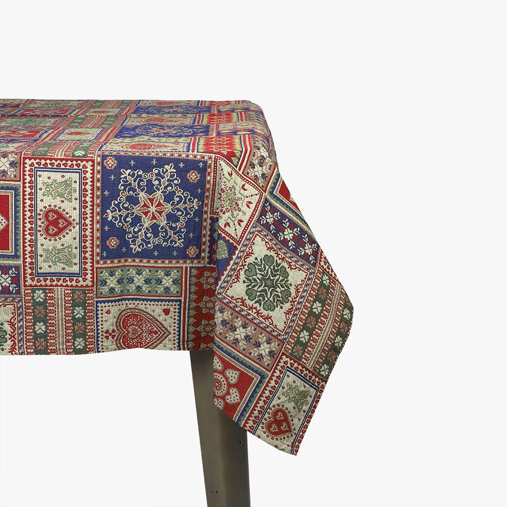 Toalha de mesa Corações Vermelho 130x130 cm