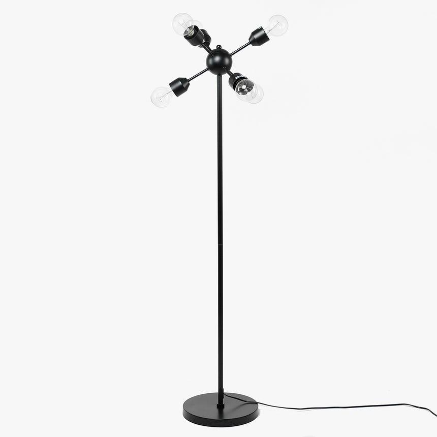 Lámpara de Pie Retro 6 Luces Negro