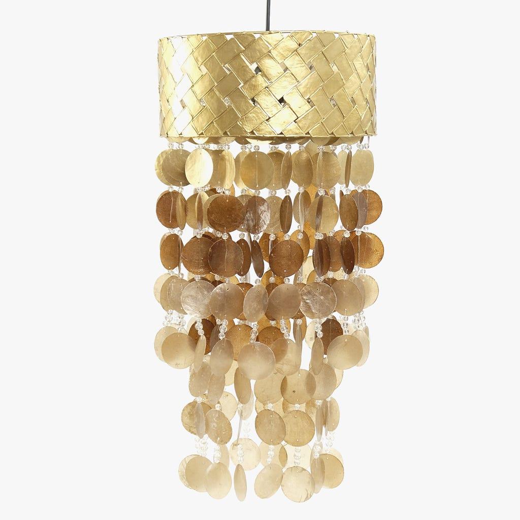 Candeeiro de Teto Conchas Ouro 31 cm