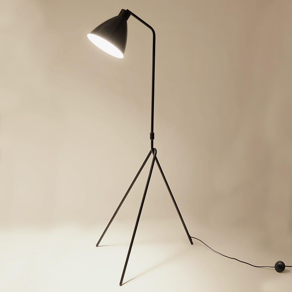 Lámpara de Pie Trípode Retro Negro 74x160 cm