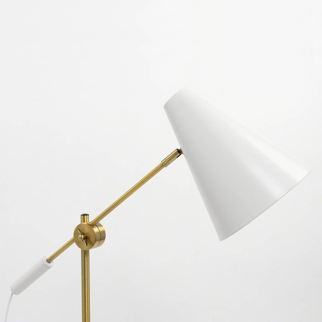 Candeeiro de Mesa Task Branco e Dourado