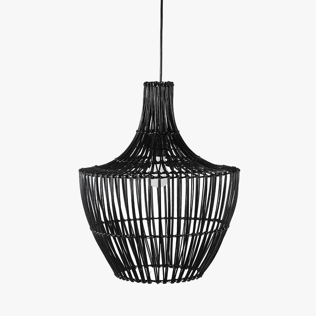 Lampe de Plafond Rattan Noir