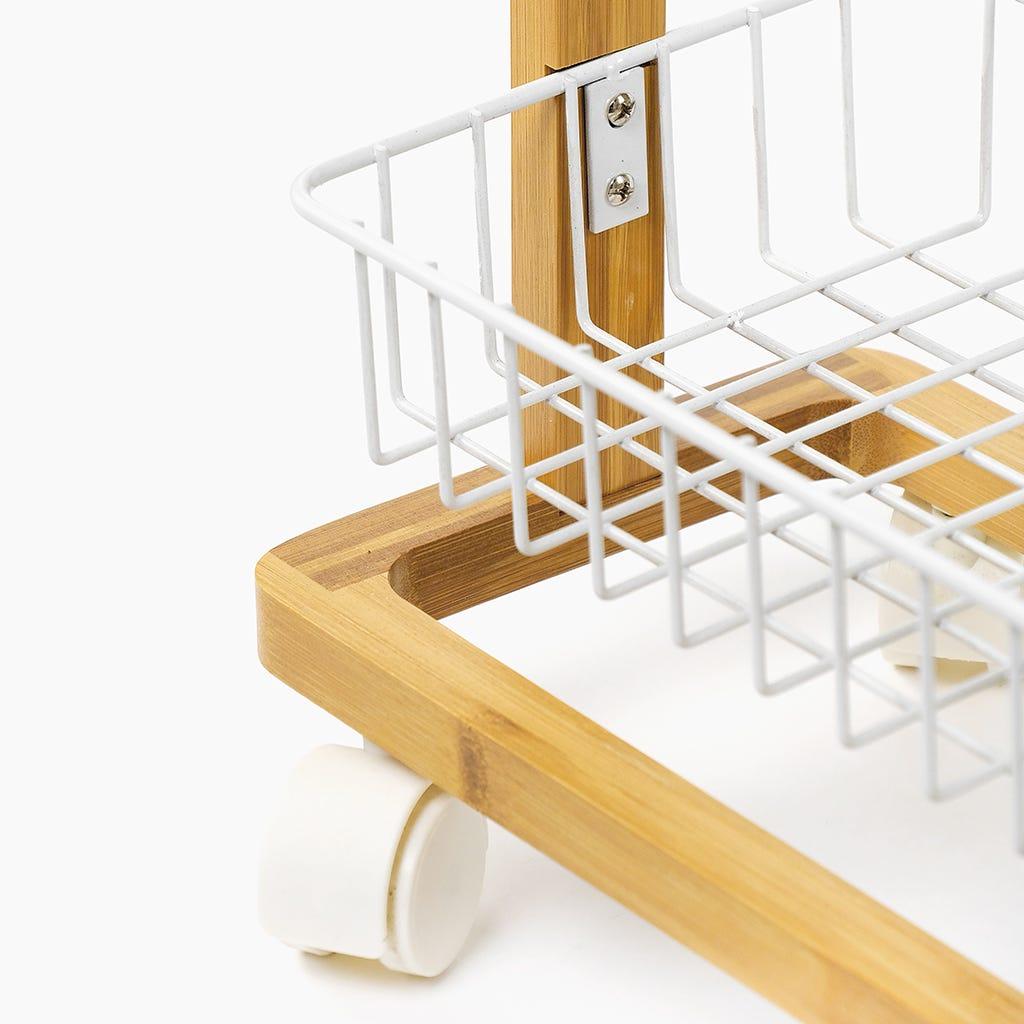 Carrinho de banho Bambu com 3 Cestos Branco 31x18x67 cm