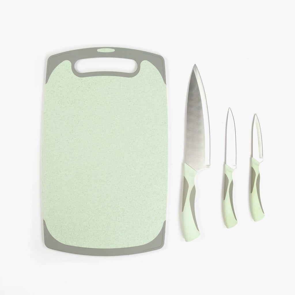 Tábua de corte com 3 facas (4 peças)