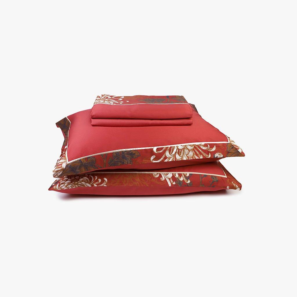 2 Lençois + 2 Fronhas de Almofada Asia Vermelho 240x300 cm