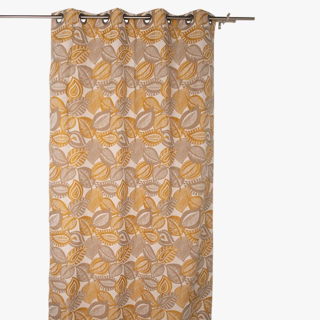 Cortinado Stella folha Bege 140x270 cm