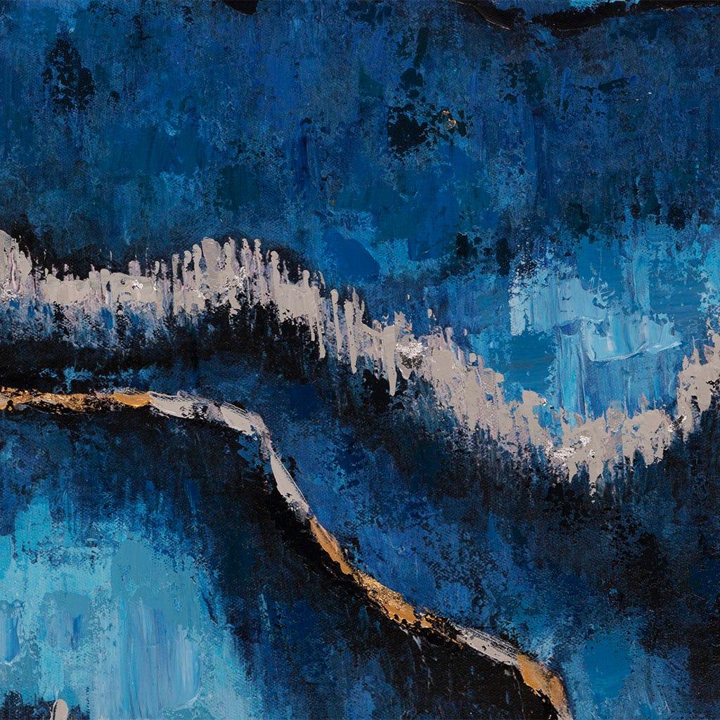 Tela abstrata azul 100x100 cm