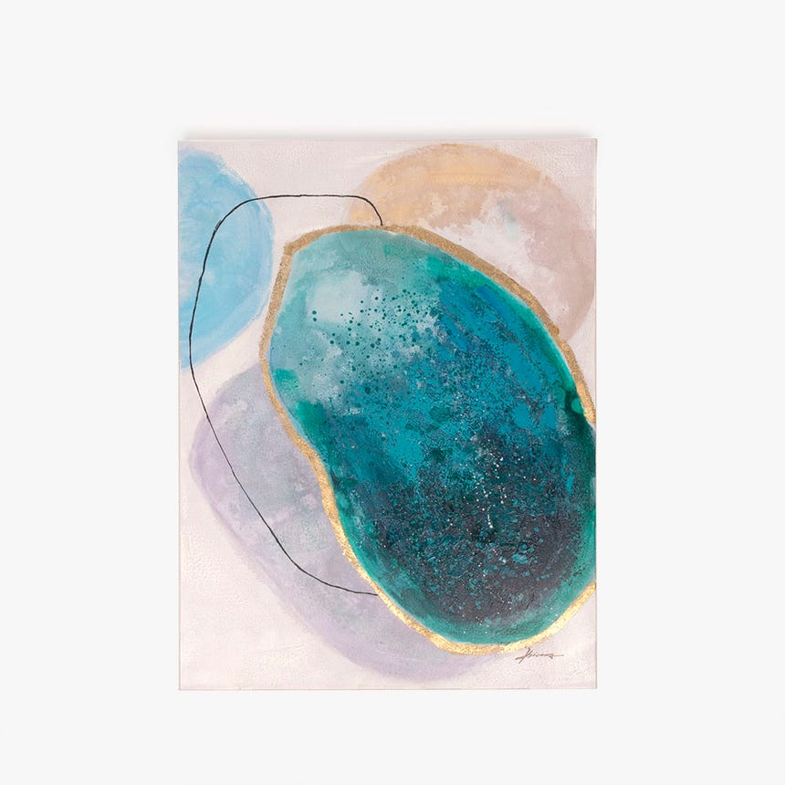 Tela abstrata azul 70x100 cm