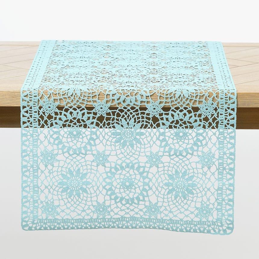 Runner Crochet Azul 40x150 cm