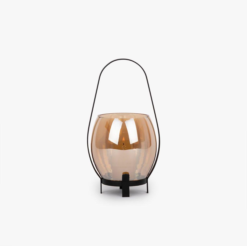 Lanterna vidro ambar 15x14x27 cm