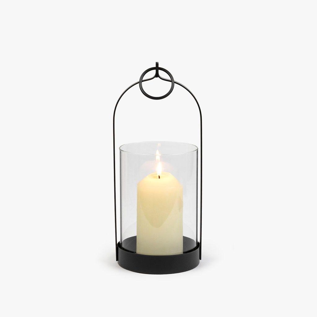 Lanterna preta 12x12x29 cm