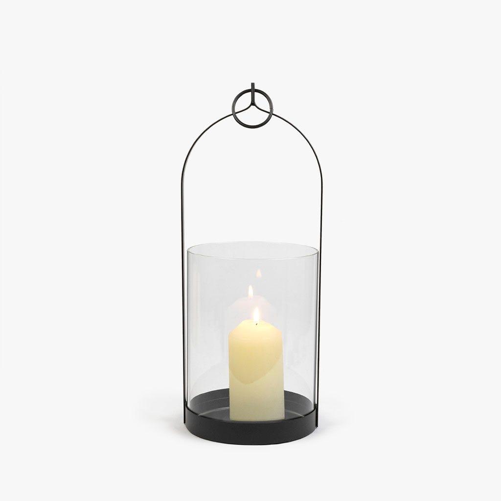 Lanterna preta 16x16x41 cm