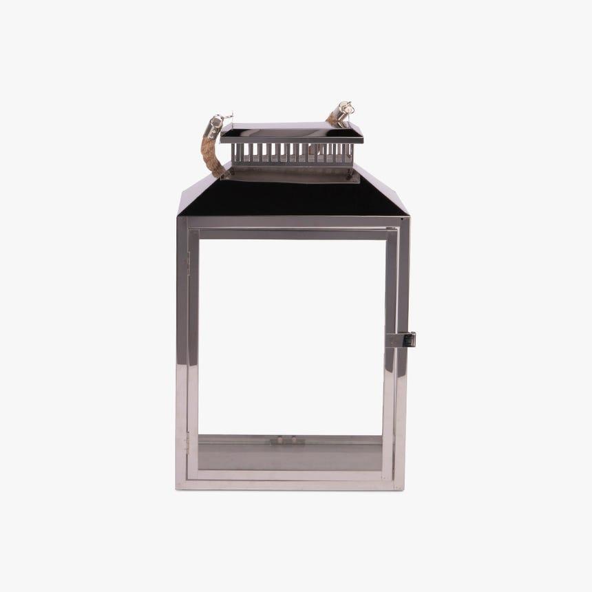 Farolillo Cuadrado Metal Plata 26x18x40 cm