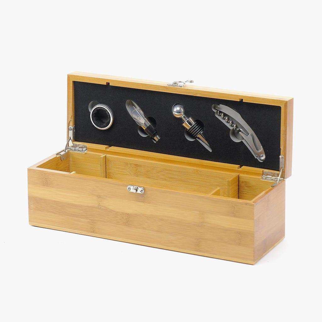 Caixa de Vinho Bambu + 4 peças