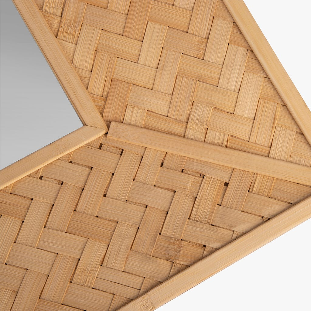 Espejo Tarim Zig-Zag Bambú 76x76 cm