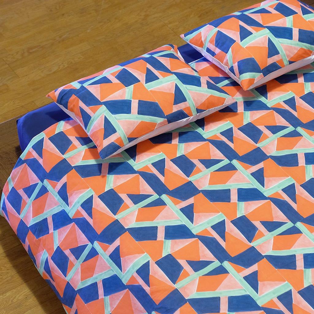 1 Saco de Edredão + 2 Fronhas Geométrico 240x220 cm