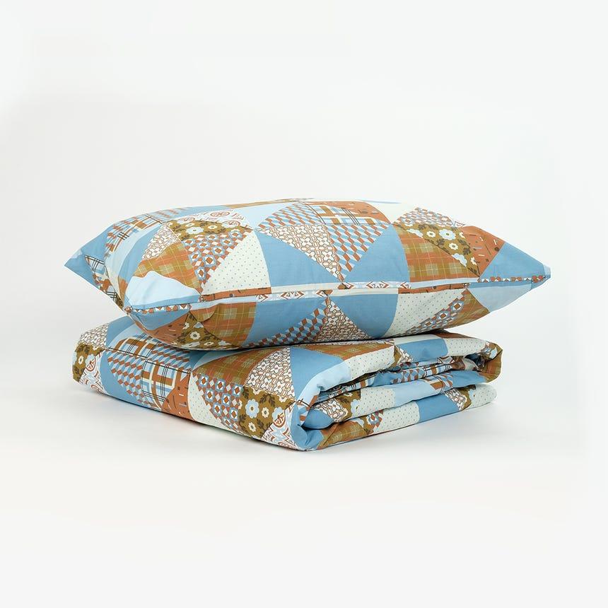 1 Saco de Edredão + 1 Fronha Patchwork Azul 140x200 cm