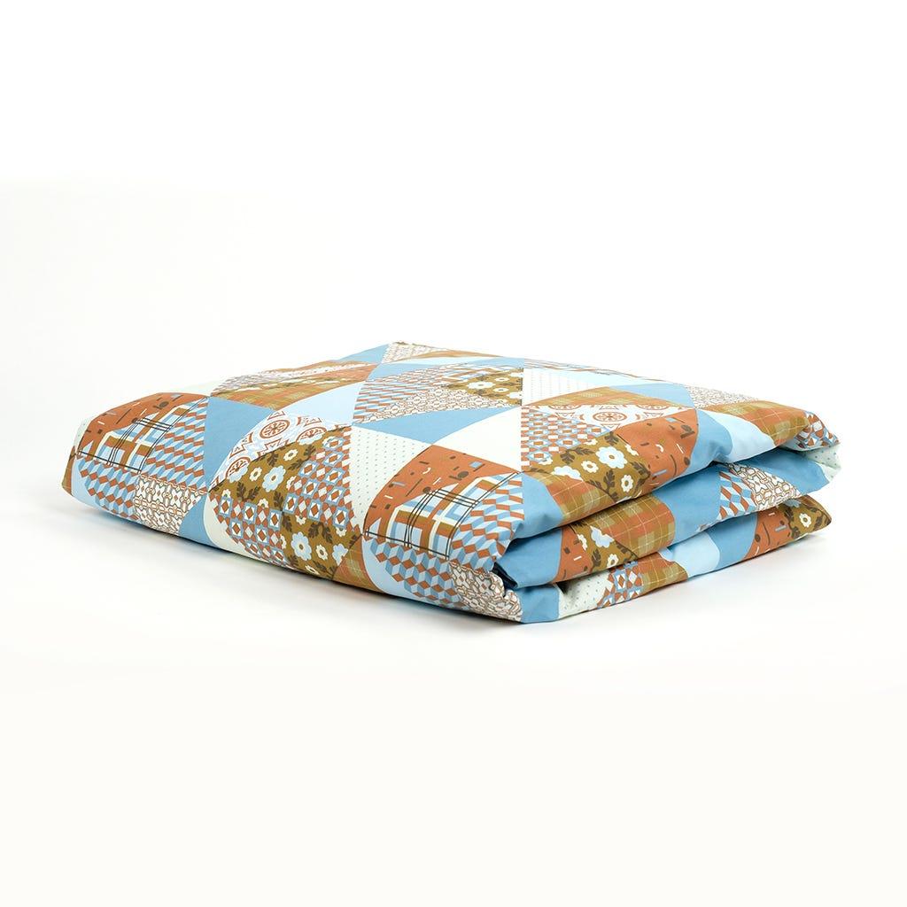 1 Saco de Edredão + 2 Fronhas Patchwork Azul 240x220 cm