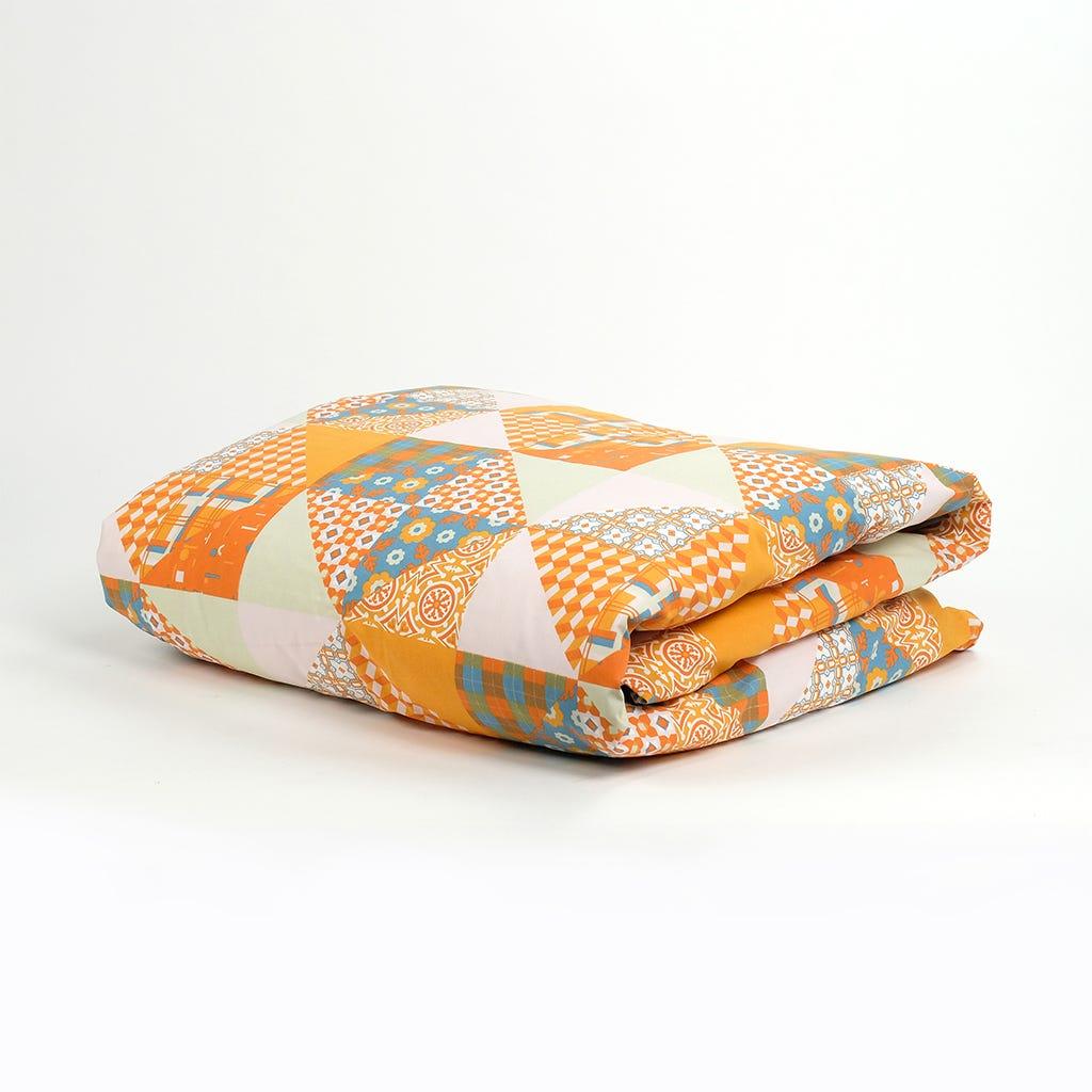 1 Saco de Edredão + 1 Fronha Patchwork Laranja 140x200 cm
