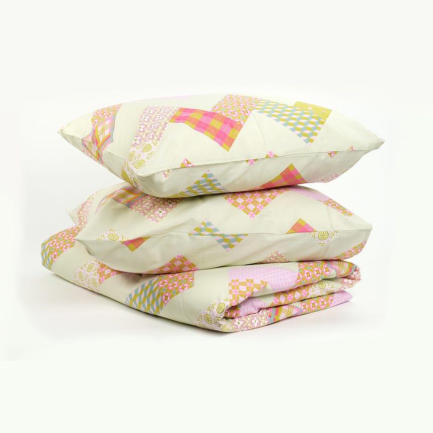 1 Saco de Edredão + 2 Fronhas Patchwork Rosa 240x220 cm