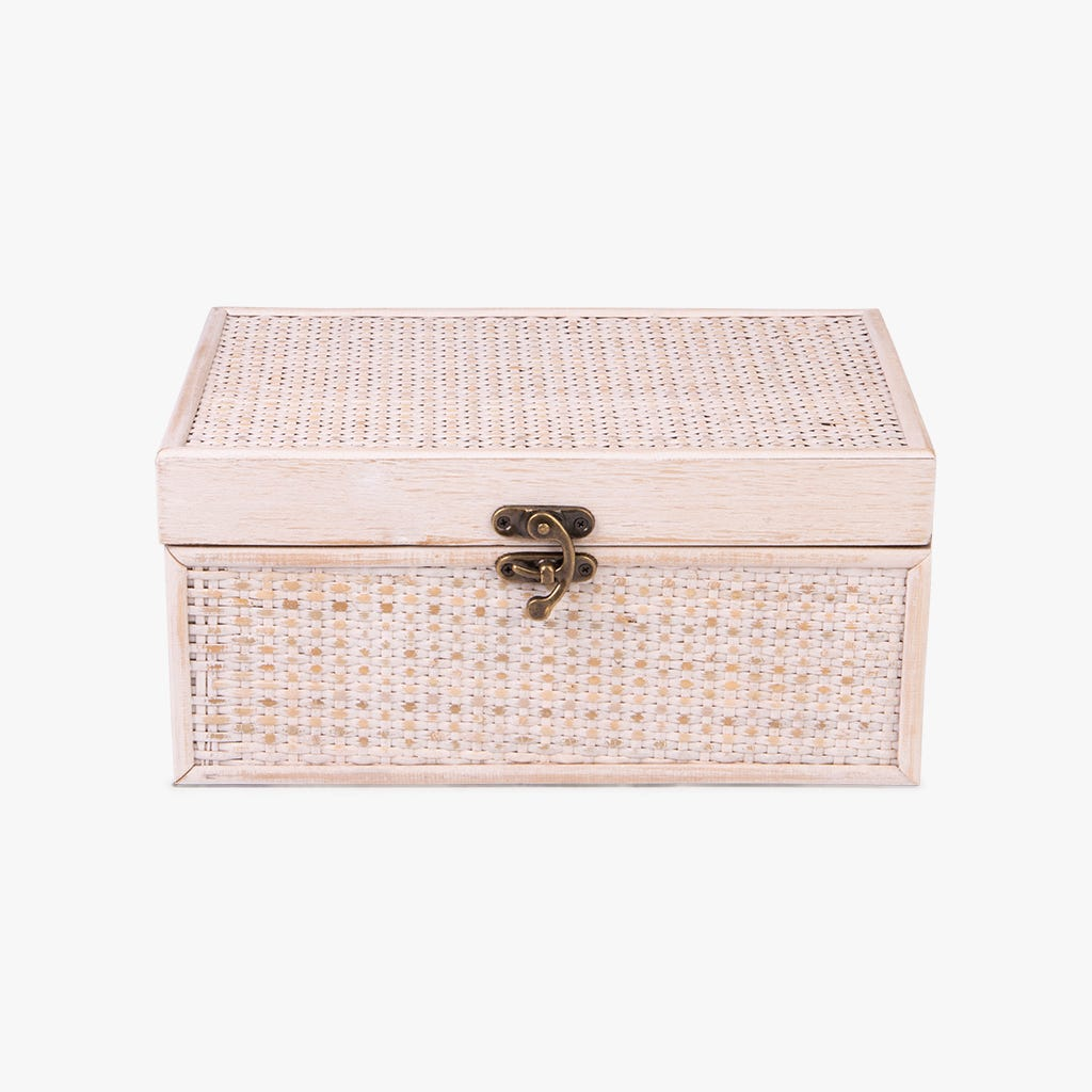 Caixa Entrelaçada Bege 30x20x14 cm