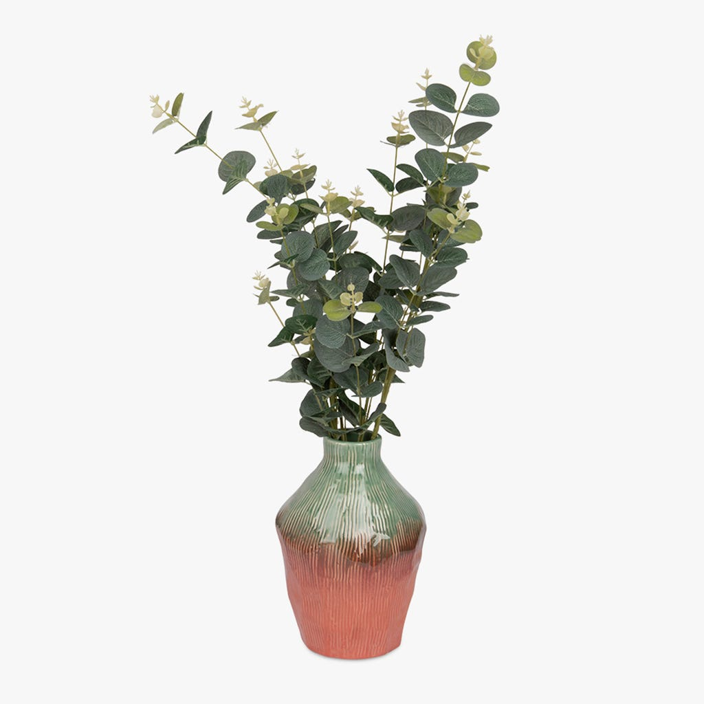 Vase Indigena Vert et Rose 17x23 cm