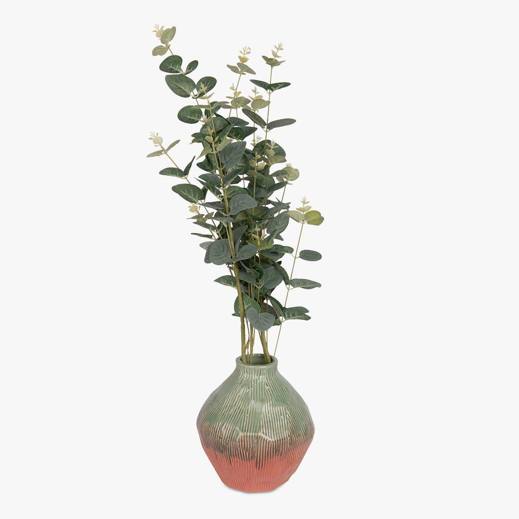 Vase Indigena Vert et Rose 17x18 cm