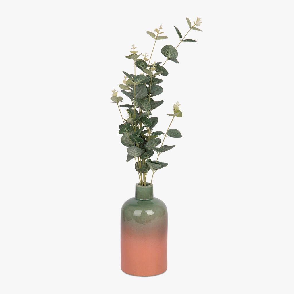 Vase Indigena Vert et Rose 11x20 cm