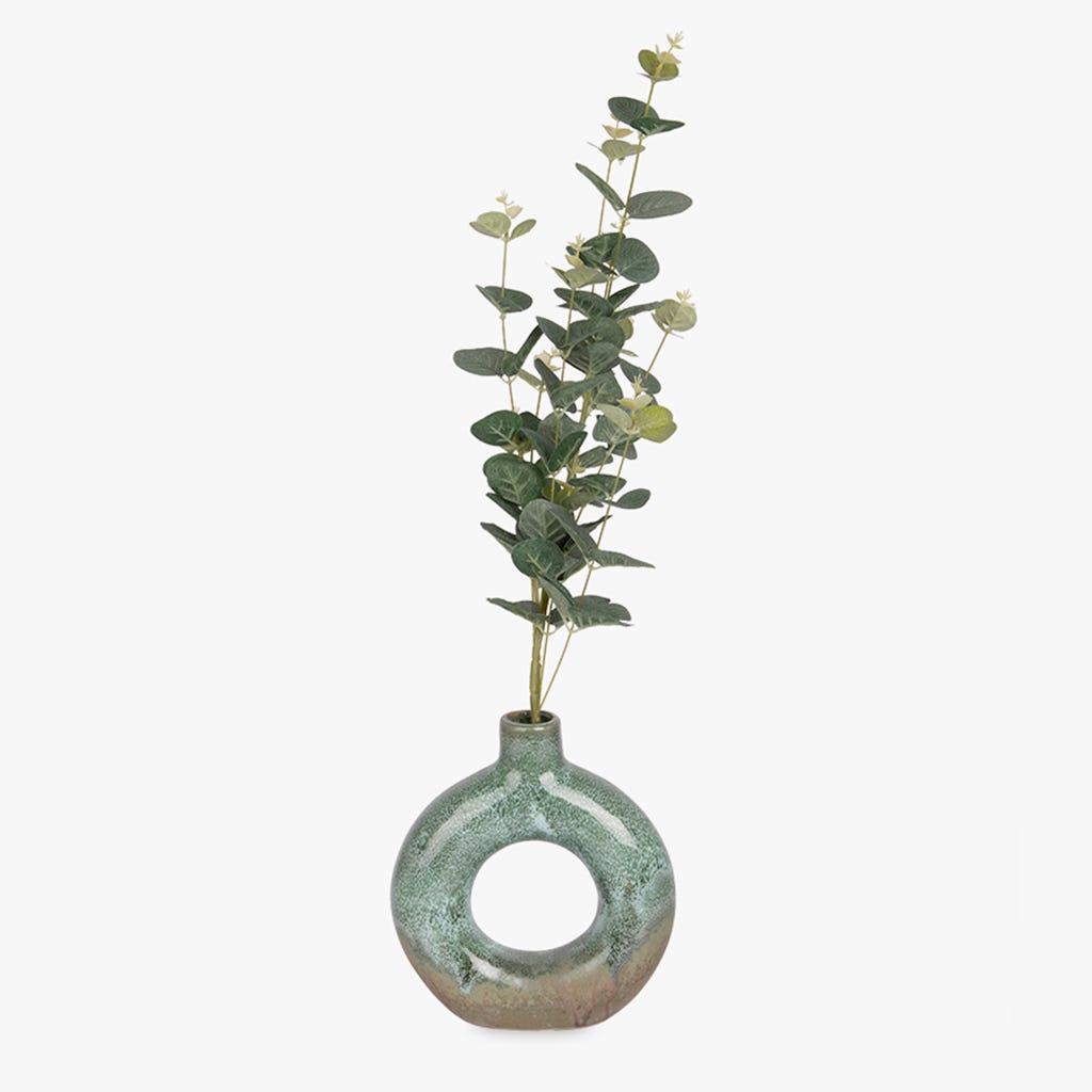 Vase Indigena Vert et Rose 18x20 cm