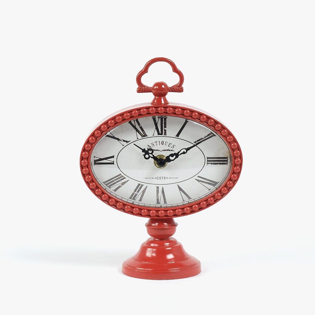 Horloge de Table Rouge 16x22 cm
