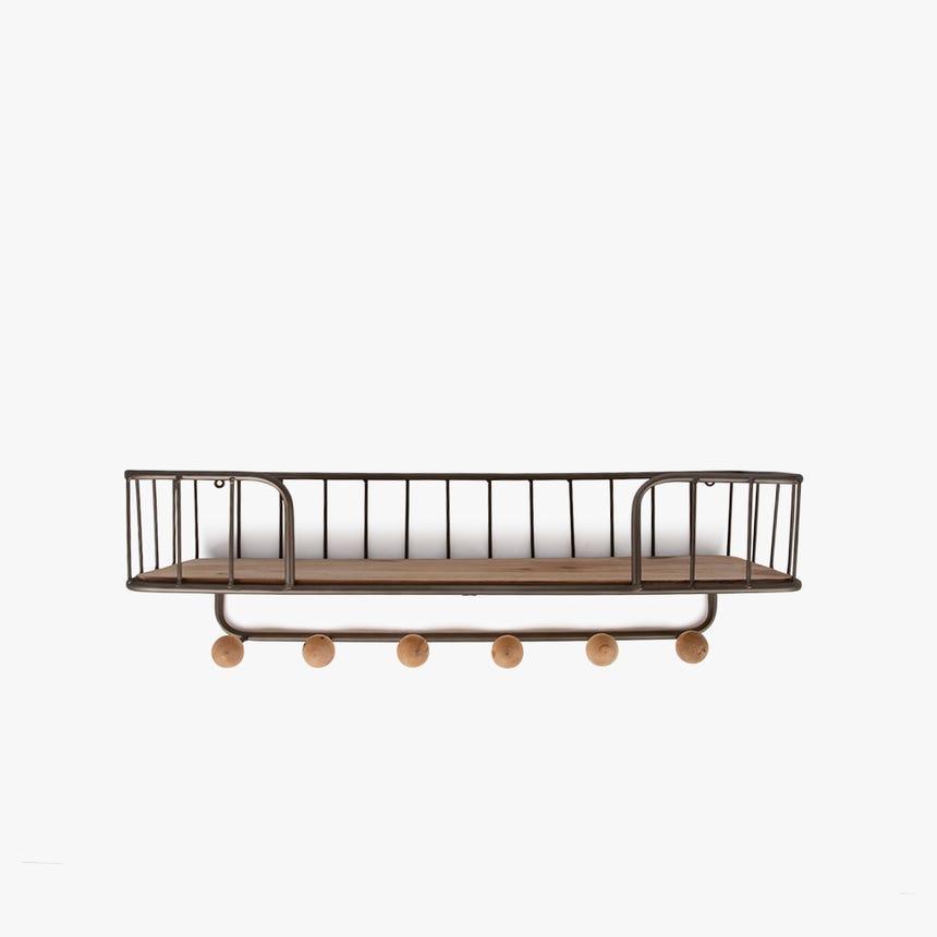 Prateleira de parede Madeira/ Metal 61x20x19 cm