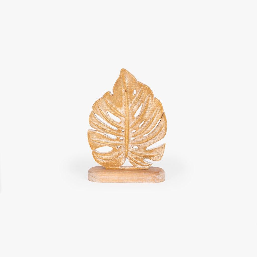 Pièce décorative Feuille Bois 18x7x25 cm