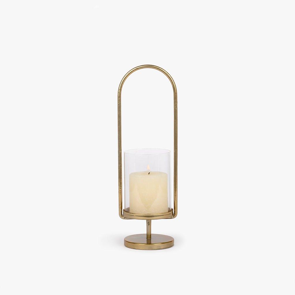 Lanterna metal dourado 32 cm