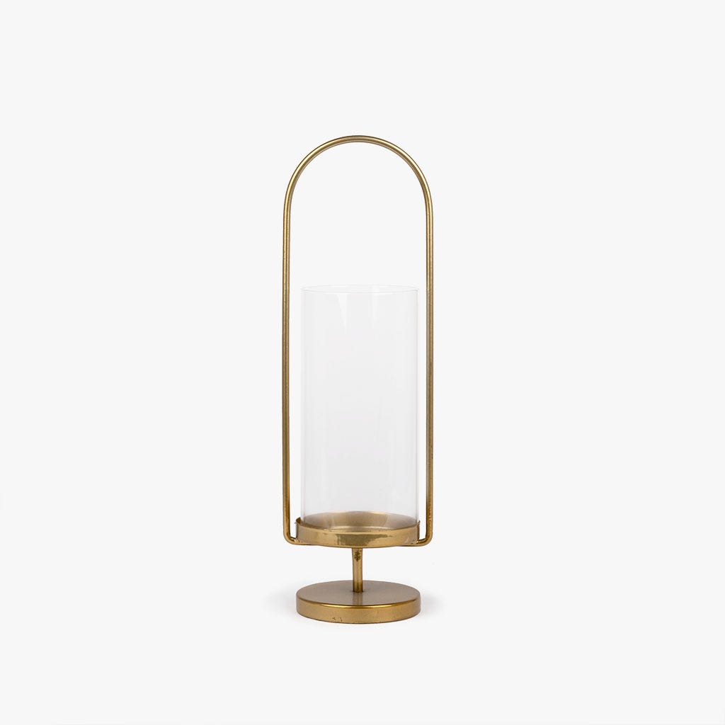 Lanterna metal dourado 37 cm