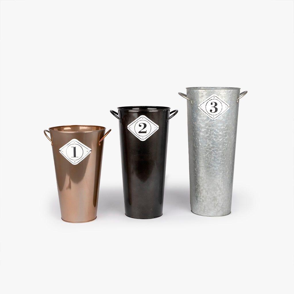 Vaso metal preto 26x22x43 cm