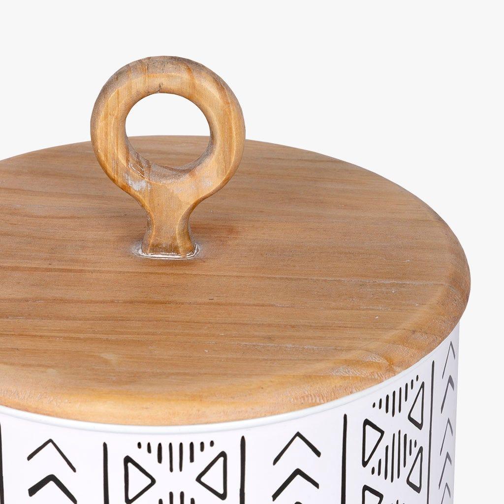 Caixa étnico Madeira/ Metal d20x22 cm