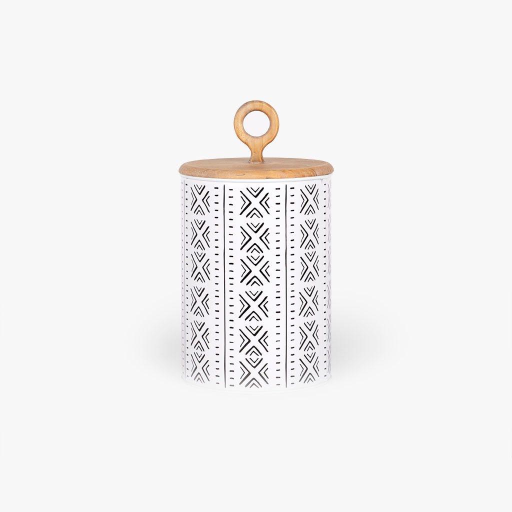 Caixa étnico Madeira/ Metal d17x31 cm