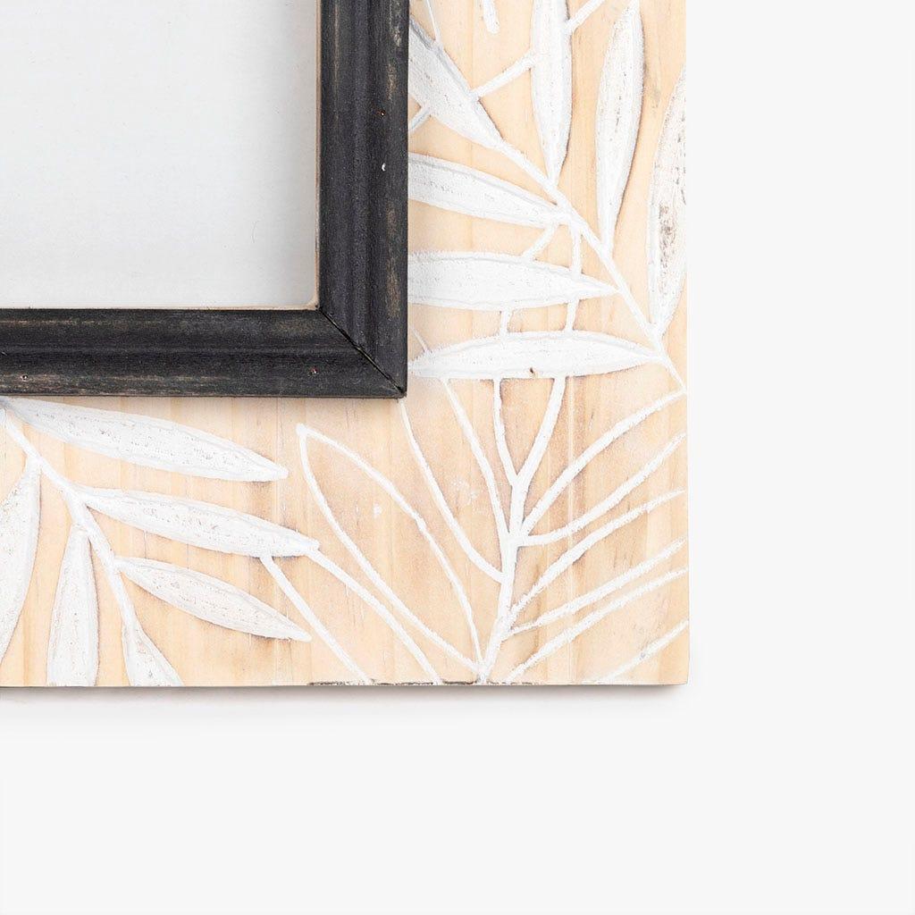Moldura folhas madeira 23x23 cm