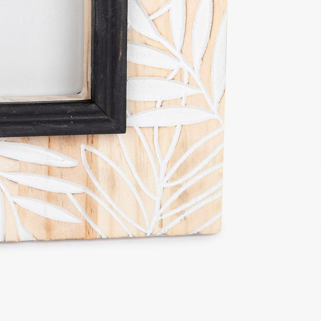 Moldura folhas madeira 23x28 cm