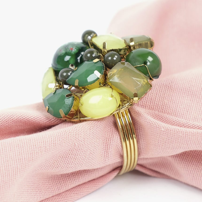 Anel de guardanapo Pedras Verde
