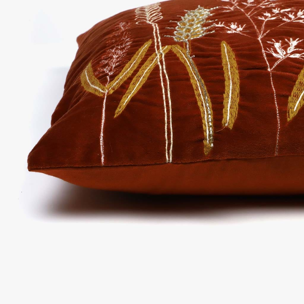 Capa de Almofada Espigas Veludo Laranja 45x45 cm