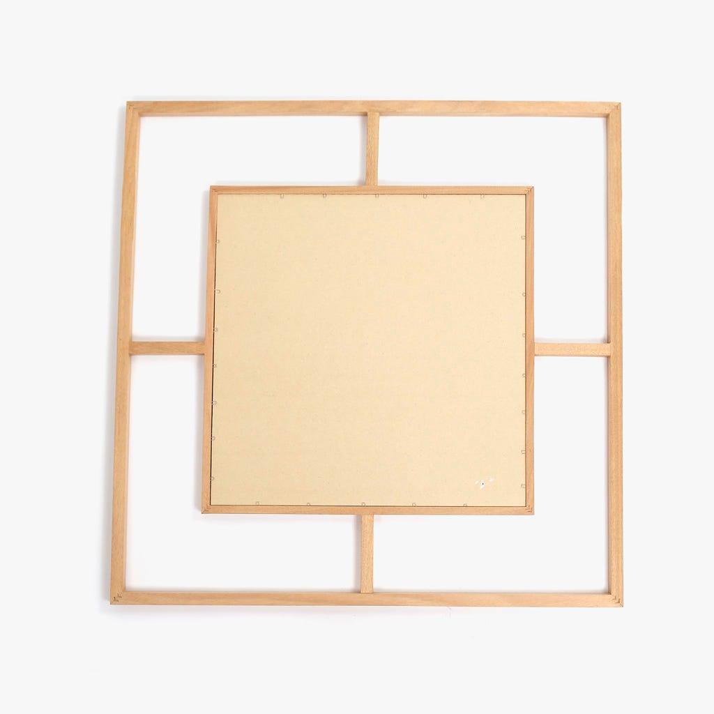 Espelho Madeira Janela 80x80 cm